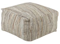 Henry Woven Leather Neutrals Pouf