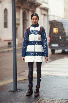 Blue & White Striped PVC Raincoat