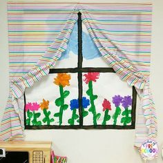 Make a window with a curtain using a plastic tablecloth for your dramatic play center. Everything you need to set up your Home Living Center! You get tips, tricks, prop making ideas, labels, shopping lists, money, and MORE)