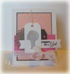 Handmade breast cancer awareness card by Amber Hight using the Pink Power stamp set from Verve. #vervestamps