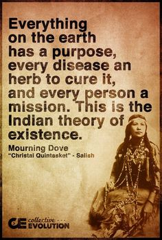 """""""Everything on the Earth has a purpose, every disease and herb to cure it, and every person a mission. This is the Indian theory of existence."""" - Mourning Dove (Christal Quintasket)"""