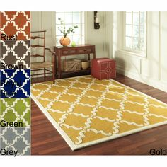 Add a touch of style with this trellis wool rug available in multiple colors. This Marrakesh-inspired rug is woven using a looped construction. With its abstract print, rich colors, and soft feel, this rug is as comfortable as it is beautiful.