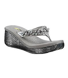 I require a certain amount of goo-gah glitz for foot happiness, do you?  Volatile Rockcandy Wedge Thong Sandals