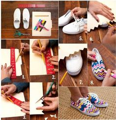 #DIY shoes~ what you need: white vans.sharpies- First pick a design you would like to do on your shoe (pick one off the internet that you really like)~next take a pencial and lighty draw the outline of your design~then take your coloed sharpies and color in and outline your design~and your done!