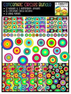 Make your products pop with our Concentric Circles Bundle! 43 vibrant PNG file images are included in this set (16 accents, 12 digital papers, 12 headers and 3 dividers)! Once purchased, this bundle can be used for personal or commercial purposes. Kindly remember to include a link back to our TPT store: http://www.teacherspayteachers.com/Store/2-Smart-ChicksHappy creating!