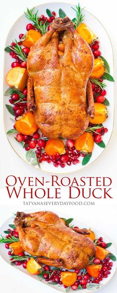 An oven-roasted whole duck is a great alternative to the traditional turkey for your Thanksgiving or Christmas dinner! This simple recipe stuffed with garlic, thyme and shallots yields a flavorful and juicy bird! Whole Duck Recipes, Thanksgiving Recipes, Holiday Recipes, Thanksgiving Stuffing, Turkey Recipes, Chicken Recipes, Roasted Duck Recipes, Tatyana's Everyday Food, Oven Roast
