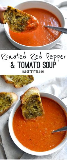 Red Pepper and Tomato Soup is a fast and rich weeknight comfort food perfect for dipping crusty bread or grilled cheese. - Roasted Red Pepper and Tomato Soup is a fast and rich weeknight comfort food perfect for dipping crusty bread or grilled cheese. Healthy Diet Recipes, Healthy Soup Recipes, Vegetarian Recipes, Healthy Eating, Cooking Recipes, Cooking Tips, Easy Recipes, Budget Cooking, Healthy Food