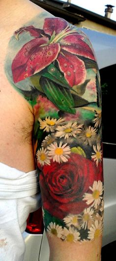 Flowers Tattoo Repin & Follow my pins for a FOLLOWBACK!