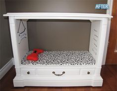 DIY fun dog bed furniture. Recycled from old TV cabinet.