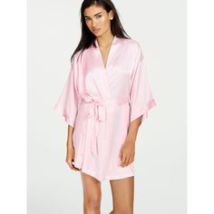 Victoria's Secret Satin Kimono Robe (950 MXN) ❤ liked on Polyvore featuring intimates, robes, purple, lingerie robe, purple bath robe, satin kimono robe, victoria secret robe and dressing gown