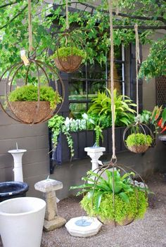 50 Unique & Modern DIY Outdoor Hanging Planter Ideas For Your Garden - Planters - Ideas of Planters - Chic Industrial Globe-Shaped Iron Hanging Planters Diy Planters Outdoor, Diy Hanging Planter, Garden Planters, Outdoor Gardens, Planter Ideas, Hanging Gardens, Hanging Baskets, Diy Patio, Porch Planter