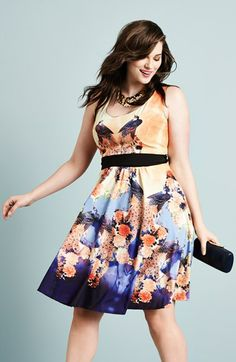 City Chic 'Peacock Blossom' Fit & Flare Dress (Plus Size)   Nordstrom