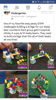 Do you like doing fun STEM activities with my students? This activity on the teddy bear bridge … Stem Science, Preschool Science, Preschool Classroom, Pet Theme Preschool, Steam For Preschool, Bear Crafts Preschool, Preschool Library, Steam Activities, Science Activities
