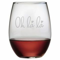 "Stemless wine glass with a hand-etched typographic motif. Made in the USA.  Product: Set of 4 stemless wine glassesConstruction Material: GlassColor: ClearFeatures:  Each decoration is deeply sand etched into the glass surface by handMade and decorated in the USA Dimensions: 4.6"" H x 2.75"" Diameter Cleaning and Care: Dishwasher safe"