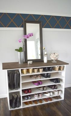 a diy shoe container. DIY shoe cabinet, helping organize your closet. To see more visit- http://www.ourhousenowahome.com/