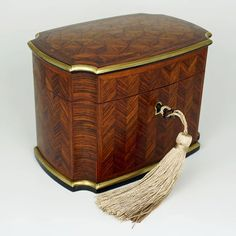 Antique French Signed TAHAN Paris Rosewood Parquetry Inlay Tea Caddy : The Antique Boutique ® | Ruby Lane Antique Wooden Boxes, French Signs, Parquetry, Foil Paper, Tea Caddy, Ruby Lane, Tortoise Shell, Art Decor, Home Decor