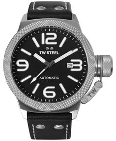 Tw Steel Unisex Automatic Canteen Black Leather Strap Watch 45mm TWA950