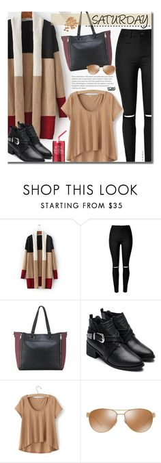 """""""Yoins Casual"""" by beebeely-look ❤ liked on Polyvore featuring Versace, casual, casualoutfit, cardigan, saturday and fallfashion"""