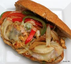 Philly Cheese  & Chicken Sandwich. A mouthful for sure! Packed with lean protein and loads of sweet peppers and onions.
