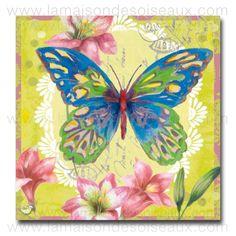 Serviettes en papier imprimé papillon bleu - 25x25
