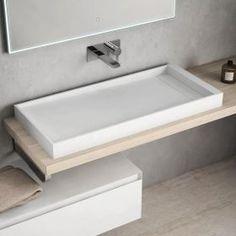 Vasque à poser en résine 100x45 cm, Mineral