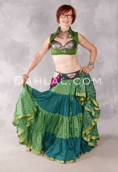 25 Yard Silk Printed Tribal Skirt - Spring Green and Hunter Green Combination, Skirt #30 Belly Dance Skirt, Tribal Skirts, Costume Shop, Spring Green, Dance Outfits, Hunter Green, Dance Costumes, Green Colors, Color Combinations