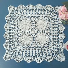 Country living hand crochet square tablecloth, handmade floral table cover, lace table topper, square couch cover for home decor Lace Doilies, Crochet Doilies, Hand Crochet, Crochet Lace, Crochet Tablecloth, Couch Covers, Table Covers, Coffee Table Cover, Lace Table