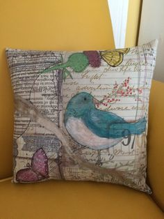 "Pillow I painted using Cheryl Mezzetti's ""Perfect Paints"" by Sue Whittemore"