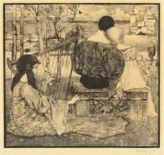 by Heinrich Vogeler, Love Heinrich Vogeler, Classic Theme, Victorian Art, Haunted Places, Printmaking, Art Nouveau, Fairy Tales, Illustration Art, Vintage Illustrations