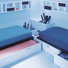 Composición con dos camas una nido con cama i la otra con cajones de la marca Lagrama, su nueva colección box