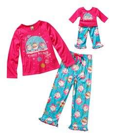 Loving this Dollie & Me Pink & Blue Snowman Pajama Set & Doll Outfit - Toddler & Girls on #zulily! #zulilyfinds