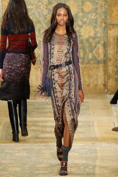 Tory Burch Fall 2015 Long Sleeve Embroidered Dress and Jones Sandals