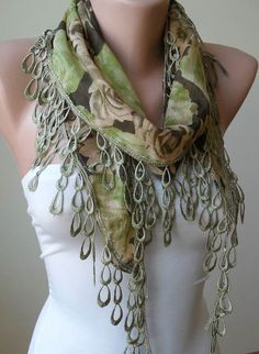Green Scarf with Green Trim Edge by SwedishShop on Etsy, $13.90