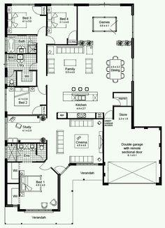 Floor plan 4 bedroom, 4 bedroom house plans, new house plans, dream hou House Plans One Story, Best House Plans, Dream House Plans, Small House Plans, Plans For Houses, Story House, The Plan, How To Plan, Plan Plan