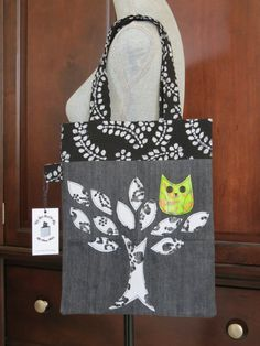Recycled Denim and Batik Applique Tote Bag by StaceyKokot on Etsy, $65.00