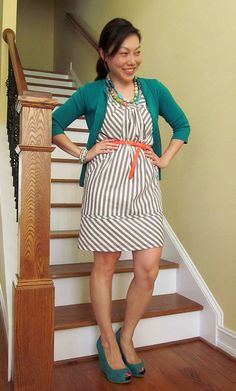 Striped dress with necklace