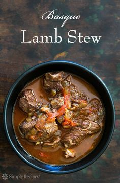 Basque Lamb Stew ~ Marinated, slow-cooked, lamb stew with lamb shoulder, garlic… Meat Recipes, Slow Cooker Recipes, Cooking Recipes, Basque Food, Lamb Dishes, Lamb Shanks, Soup And Salad, The Fresh, Soups And Stews