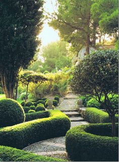 """A house in Provence: """"Mas de Baraquet"""". The landscaping around the mas is so beautiful with all the clipped box and stone steps."""