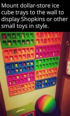 Dollar store ice cube trays for organizing small toys... Yes!