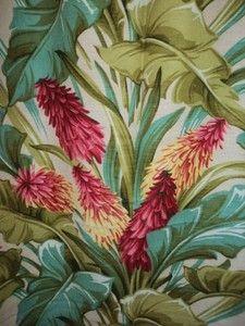 Vintage tropical barkcloth. Handmade beach totes made of vintage fabric