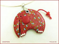 Thulo, the baby mammoth Polymer clay pendant