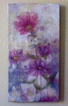 Original encaustic painting  pink prairie by EncausticsbyGretchen
