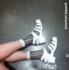 Pair the NEW Sheer Patterned Sock with the Woven Jelly Sandal for a fun summer look! #AmericanApparel