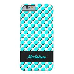 Trendy iPhone Case with Shadow Polka Dots, Aqua/Black on White; shadows give a 3-D effect; personalize with your name in aqua on the black ribbon label. Select CUSTOMIZE to choose your case from a number of iPhones, iPads, or other phone brands.