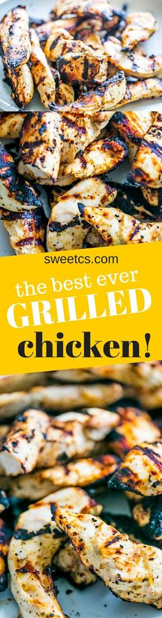 This is THE best way to make juicy, never-dry grilled chicken strips! Great to take to work for a grilled chicken salad you can eat cold!