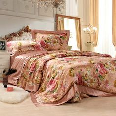 Red Gold and Pink Western Paisley Park Retro Colorful Floral Garden 100% Mulberry Silk Full, Queen Size Bedding Sets - EnjoyBedding.com