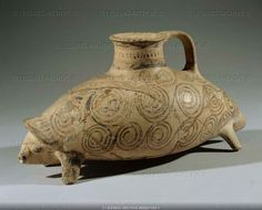 mycenaean drinking vessel in the shape of a hedgehog. 14th-12th BCE