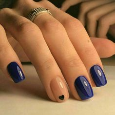 Beautiful summer nail art designs to try this summer 2017 Beautiful Navy Blue nails with tiny Heart shape. pink nail polish on rounded shaped nail.Beautiful Navy Blue nails with tiny Heart shape. pink nail polish on rounded shaped nail. Gel Nail Designs, Cute Nail Designs, Toe Nail Designs For Fall, Heart Nail Designs, Different Nail Designs, Colourful Nail Designs, Nail Designs With Hearts, Fall Nail Ideas Gel, Ideas For Nails