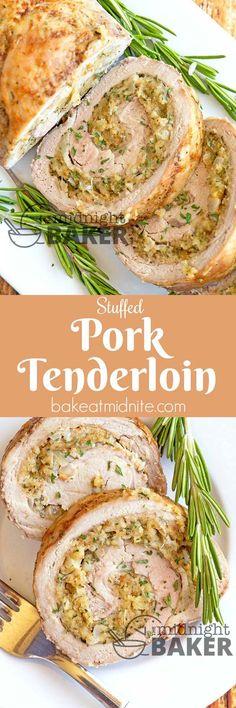 Succulent pork tenderloin stuffed with a rich buttery soft-bread herb stuffing. … Succulent pork tenderloin stuffed with a rich buttery soft-bread herb stuffing. It's easy to make too! Pork Tenderloin Recipes, Pork Recipes, Cooking Recipes, Pork Meals, Cooking Pork, Herb Stuffing, Pork Ribs, Pork Loin, Pigs