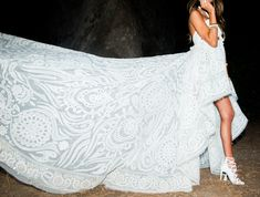Undoubtedly the coolest wedding dress that has ever existed.  (Erica Pelosini & Louis Leeman Get Married)